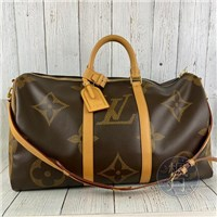 BRAND楓月 LOUIS VUITTON LV M44739 KEEPALL 50 經典大原花 旅行袋 手提包 斜背包
