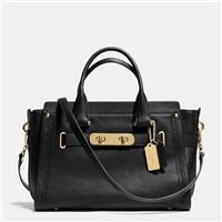 Coco小舖 COACH 34408 S WAGGER CARRYALL IN PEBBLE LEATHER 黑/金色