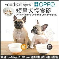 *KING WANG *【含運】日本OPPO【FoodBall Open短鼻犬慢食碗】深灰、橘 兩色可選 犬用碗